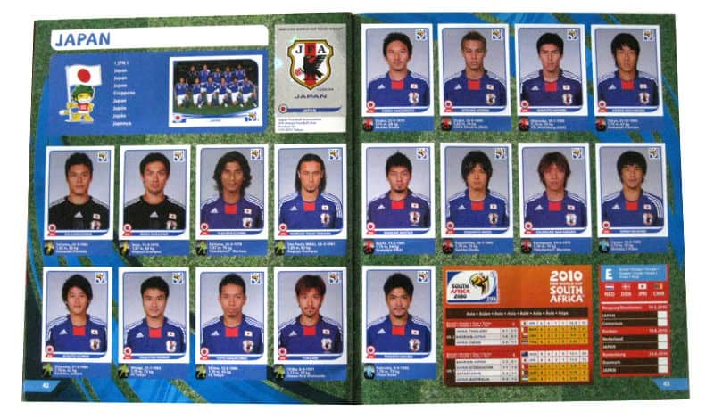 Panini Checkliste WM 2010 Japan Sticker eingeklebt