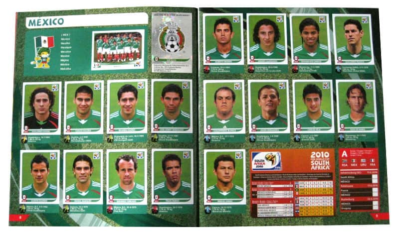 Panini Checkliste WM 2010 Mexiko Sticker eingeklebt
