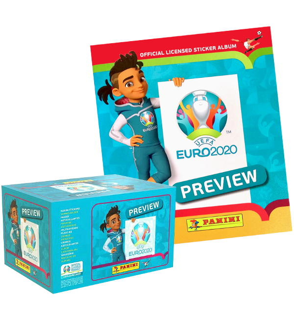 Panini EURO 2020 Preview Sticker - Album + Display mit 120 Tüten