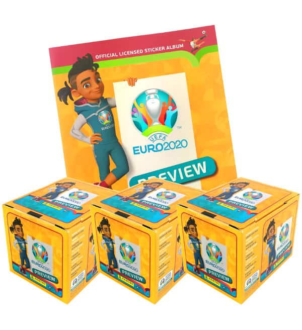 Panini EURO 2020 Preview Sticker - Album + 3 Displays
