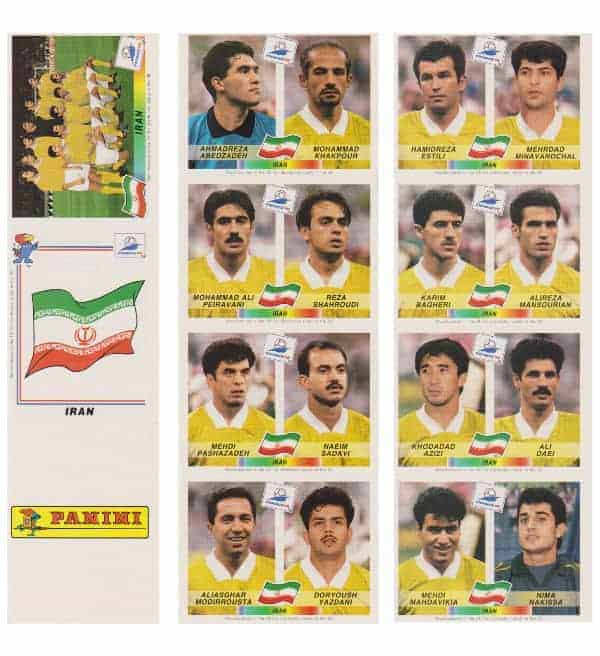 Panini WM France 98 Iran Bogen original UK