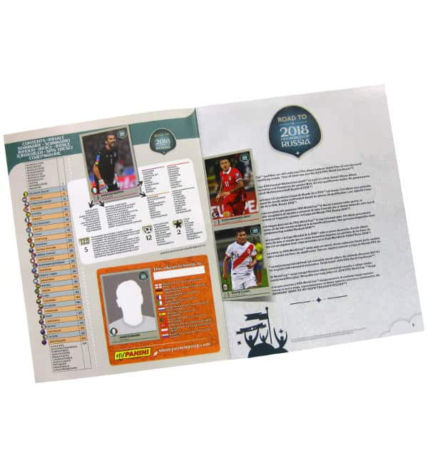 Panini Road to World Cup 2018 Sticker Album Inhalt