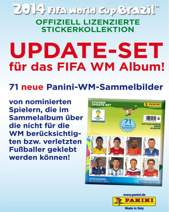 Panini WM Brasil 2014 Update Set - 71 Sticker Plakat