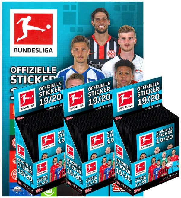 Topps Bundesliga Sticker 2019/2020 - Album + 3 Displays