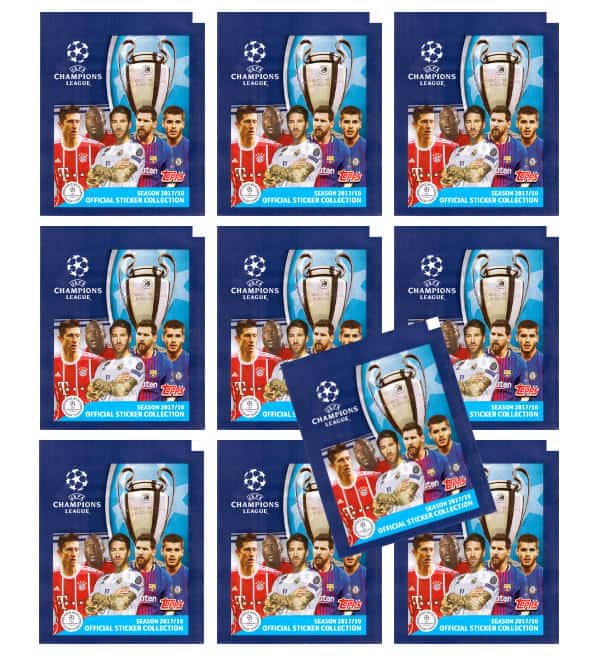 Topps Champions League Sticker 17 / 18 - 10 Tüten